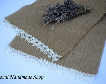 Burlap Table Runner, Jute Tablerunner,