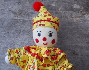 vintage handmade plush clown doll - soft stuffed circus clown - yellow jump suit cloth body