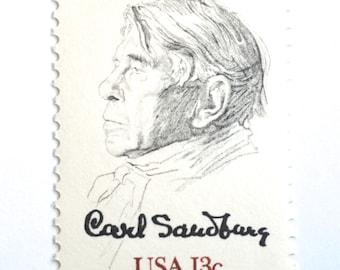 10 Vintage Carl Sandbug Postage Stamps // Poet Author Postage Stamps // Stamps for Mailing