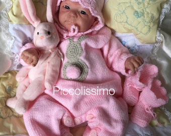 Hand Knitting Pattern- All in one bunny romper set
