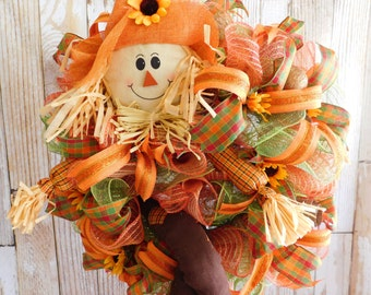 "24"" Scarecrow Deco Mesh Sunflower Fall Front Door Wreath"