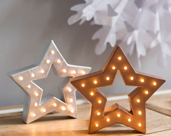 Freestanding christmas star shaped marquee letter light - battery operated