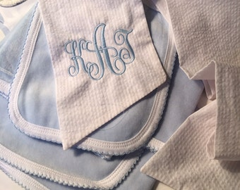 Bow Sash and 3 piece baby layette
