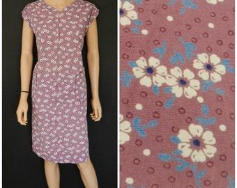 Vintage 70's floral lilac purple housecat chore dress apron pinnie Pockets M L