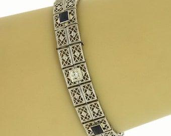 Art Deco Diamonds & Sapphire 14k White Gold Filigree Bracelet