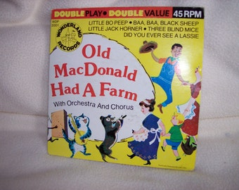 Vintage 1970's Children's 45 RPM record-Old MacDonald Had a Farm