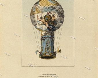 Original Vintage Color Lithograph of Hot Air Balloons 1785 - Original art work - wall art- home decor- clip art