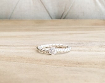 Twisted cz solitaire ring, solitaire, sterling silver ring, twisted ring, twisted band, braided band, sterling silver rings, cz ring
