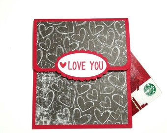 Valentines Day Gift Card Holder With Envelope, Chalkboard Money Holder, LOVE YOU Gift Card Holder With Envelope, Anniversary Card