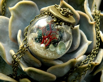 Coral reef  Glass Ball  Pendant