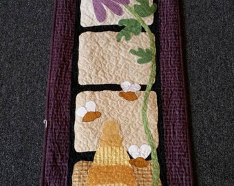 Think Spring Coneflower Bumble Bees Wallhanging Handmade Quilted Wall Spring Decor