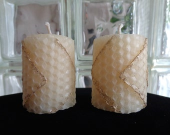 White and Gold Decor Candles, Glitter Candles, Candles Home Decor, Hostess Gift, Gift for Her, Holiday Decor, Beeswax Candles, Set of 4