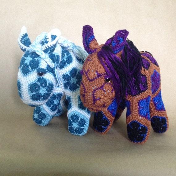 Crochet African Flower Horse Pattern : Custom Handmade African Flower Crochet Horse by Lineandloops