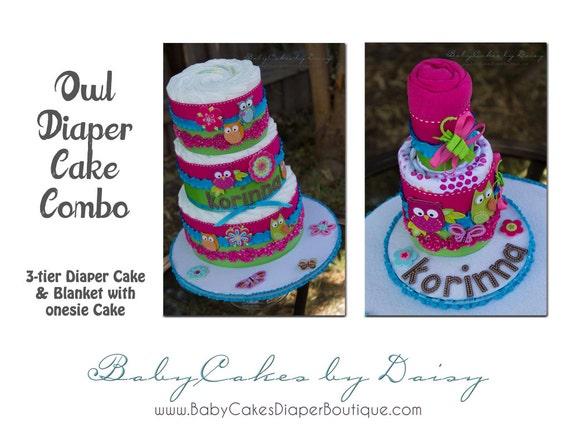 Owl Diaper Cake, Owl Baby Shower Cake, Hot Pink Owls, 3 Tier Diaper Cake, Blanket Baby Owl Cake
