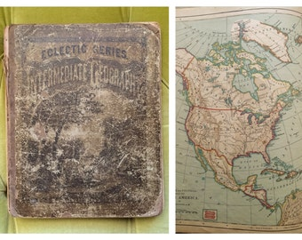 Antique Intermediate Geography Book Lot Maps Topography World Cartography Lessons in Map Drawing The Electric Series Ohio Editon No. 2 1881