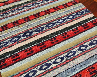 "Swedish retro vintage 1970s 30 * 51.5 ""/ inch HANDMADE handwoven cotton rag rug carpet"