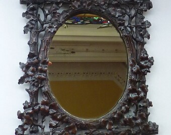 Antique BLACK FOREST MIRROR Frame in the form of an easel stand; decorated with intricate carvings of  oak leaves & acorns, c 1880