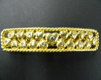 Vintage heart rhinestone hair barrette clip