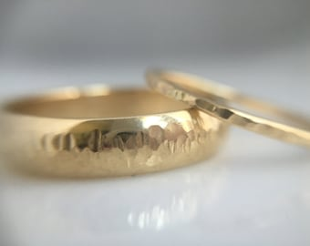 14k gold hammered wedding bands- recycled gold hammered wedding band- thin hammered 14kt gold ring