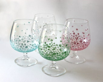 Green, Blue, Pink and Pearl Dot Brandy Glasses - One of a Kind, Hand Painted, Glassware, Gift, Circle, Housewarming, Wedding, Wine, Glass