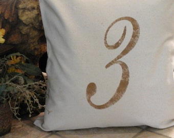 French Farmhouse Distressed Number Pillow Cover