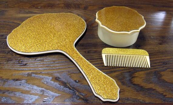 Art Deco Celluloid Vanity Set - mirror, comb and powder box