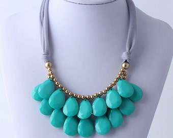Anthropologie Necklace, Bib Necklace, Turquoise Statement Necklace, Teardrop Necklace, Statement Necklace