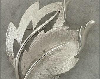 ON SALE Vintage Silver Tone Leaf Brooch Signed Trifari