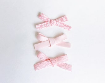 pink set, Baby Bows, Bows, Baby Headband, Nylon Headband, Handmade, Fabric Bows,  Schoolgirl Bows, Baby Accessories, floral