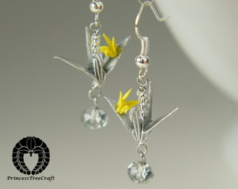 Origami Crane Jewelry, Origami Mum and Baby Crane Earrings, Silver color mum and yellow baby