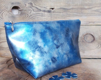 Women bag, Set of bridesmaid bag, Cosmetic bag, Wedding gift, Makeup pouches, Toiletry case, Blue, Vegan leather, Everyday bag, Zipper pouch