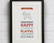 SALE 25% Off Bichon Frise Dog Breed Traits Print - Great gift for dog lovers!