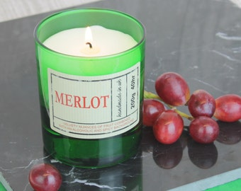 Merlot Red Wine Scented Candle in Green Glass, Gift for wine lover