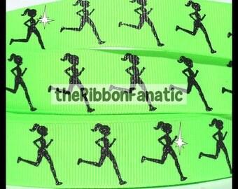 """5 yds 7/8""""  Running GLITTER Girl on Neon Lime Green Grosgrain Ribbon Runner Run"""