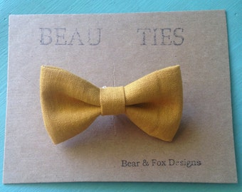 Baby Boy Toddler clip-on bow tie mustard yellow linen