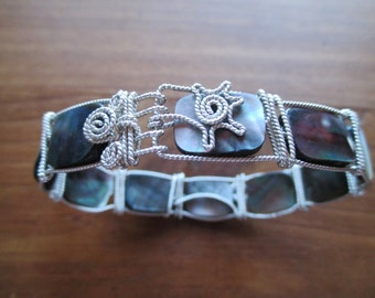 Sterling Silver Bracelet, Silver Wire Wrapped Bracelet, Abalone Silver Bracelet, Abalone Shell, TM-137