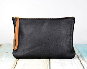 Genuine Leather Clutch, Evening Bag, Zipper Clutch, Gift for Her, Bridesmaid Gift - Black