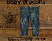 Baby Dragons Fancy Rainbow Scales Print Leggings 6m-3y Kids
