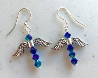 Dragonflies made from bermuda blue Swarovski crystals