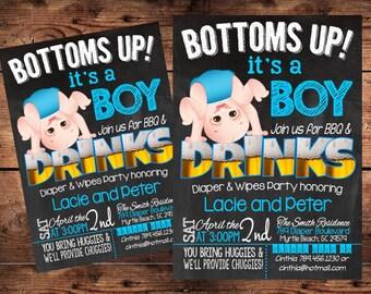 Bottoms Up Baby Shower Invitation - Funny Diaper Shower Invitation - Digital