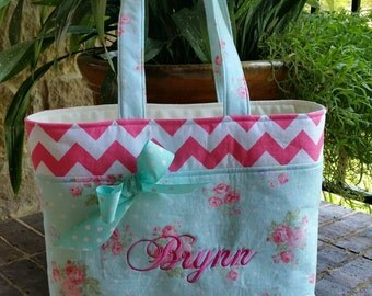 Rose and Chevron Tote Bag with Pockets