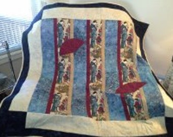 Asian lap quilt, wall hanging or table topper with geisha design