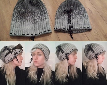 Grey Loomknitted laced beanie/slauchy hat ~One of a kind~