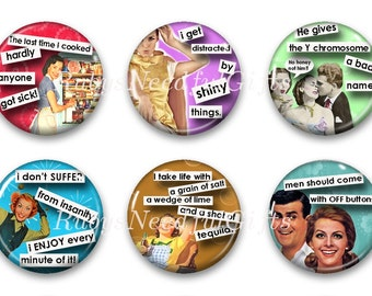 Magnets, Button Magnets, Fridge Magnets, Retro Housewives Magnets, 1 1/4 inch, Best friends gift, Hostess Gift, SET OF 6.
