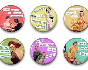 Magnets, Button Magnets, Fridge Magnets, Retro Housewives Magnets, 1 1/4 inch, Best friends gift, Hostess Gift, SET OF 6, Retro Housewives.