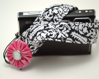 Black Damask with Dark Pink Flower - Padded Camera Wrist Strap
