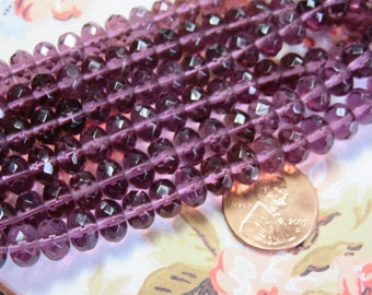 Amethyst Faceted Rondelle Czech Beads, 24 Beads - Item 3291