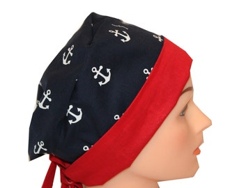 Scrub Hat Surgical Scrub Cap Chemo Chef OR Nurse Doctor Vet Hat Flirty Front Fold Pixie Navy Anchors Red Blue   2nd Item Ships FREE