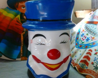 Vintage Happy Clown Head Vase, Clown Planter, Ceramic Made in Taiwan R.O.C. Window Planter