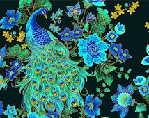 Plume Peacock by Timeless Treasures 100% High Quality Cotton Extraordinarily Ornate and Beautiful by the Yard